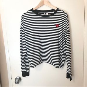 H&M long sleeve crop top stripe with heart